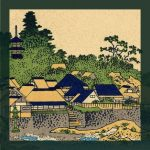 illustration of a Japanese village
