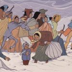 illustration of Native families marching through snow